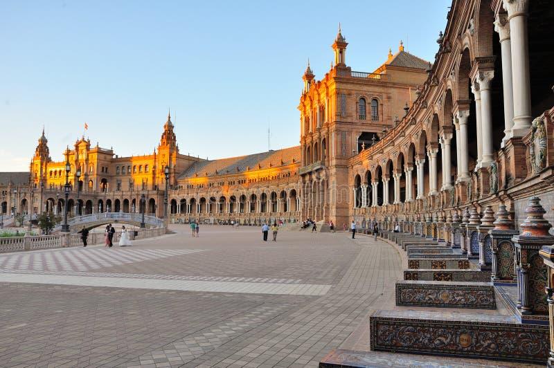 Plaza de Espana in Sevilla, Spanien stockbilder