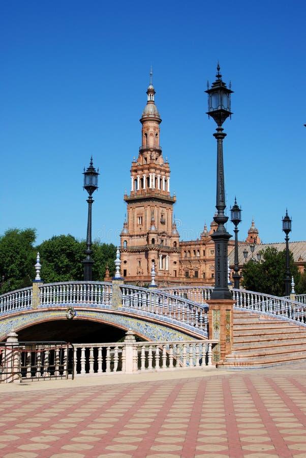 Plaza DE Espana, Sevilla, Spanje. stock fotografie