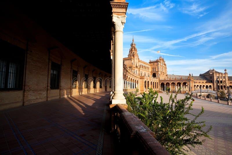 Plaza DE Espana in Sevilla, Spanje stock afbeelding