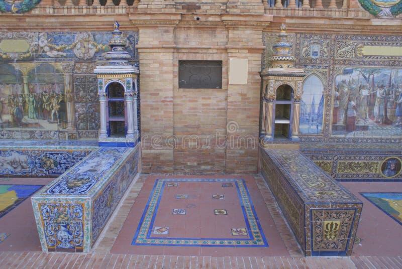 Plaza De Espana, Seville, Andalusia, Spanien royaltyfria foton