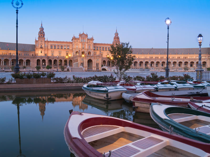 Download Plaza De Espana In Seville At Night Stock Image - Image of colorful, andalucia: 26579641