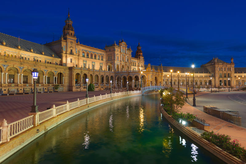 Plaza de Espana in Seville at night stock images