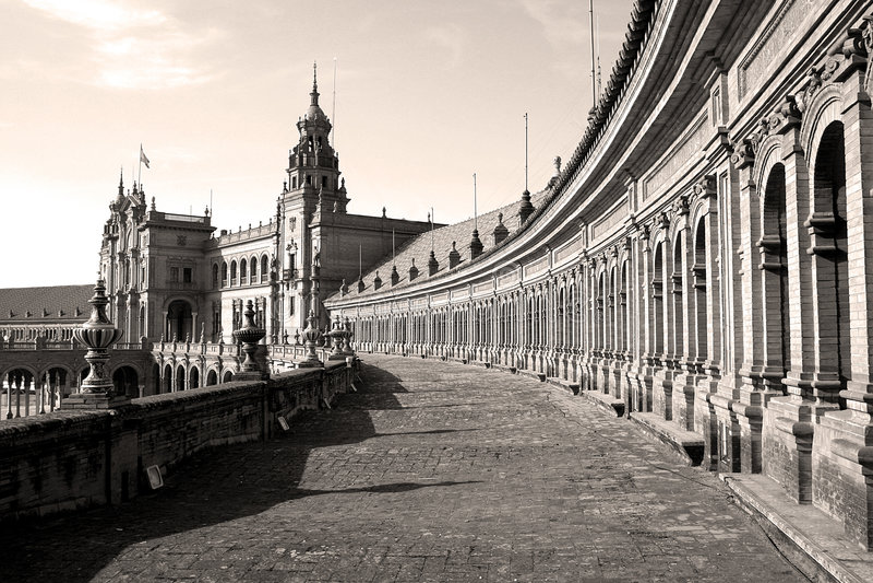plaza de Espana Sewilli Hiszpanii obraz stock