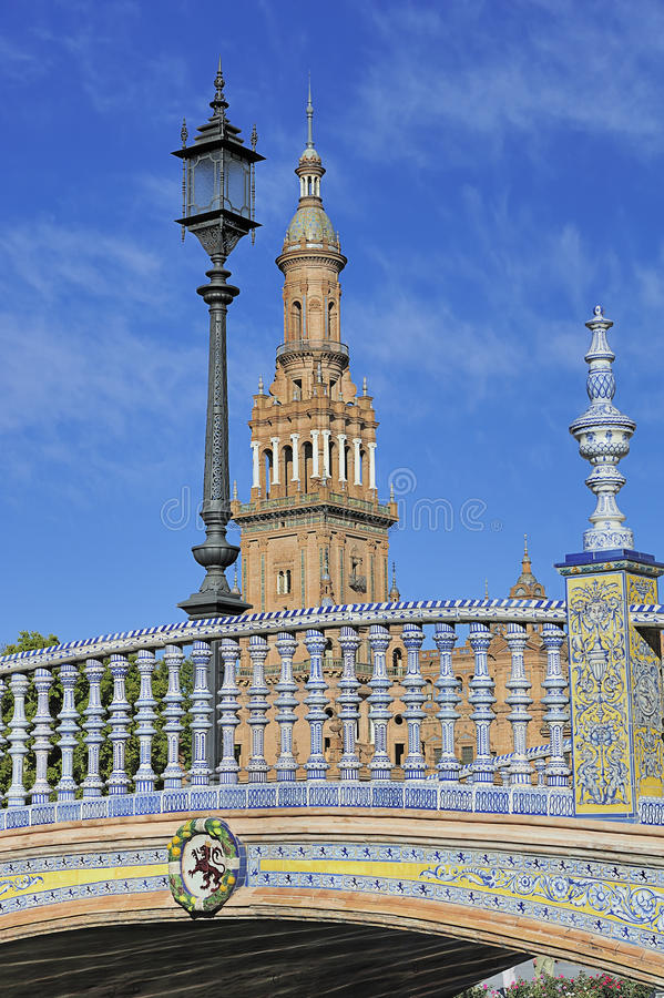 The Plaza de Espana (Spain Square), Seville, Spain. The Plaza de Espana (Spain Square) North Tower and bridge, Seville, Spain royalty free stock image