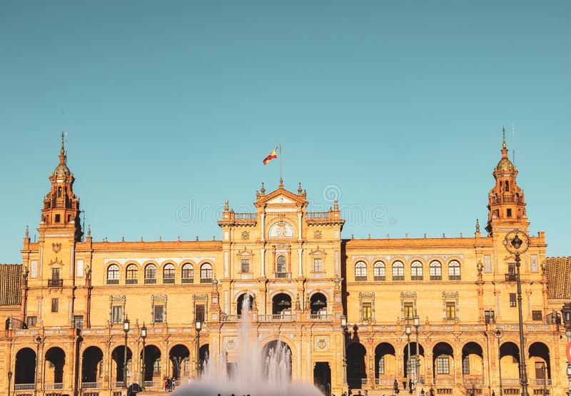 Plaza de Espana, Spanien fyrkant i Sevilla arkivfoton