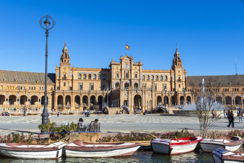 Plaza de Espana Spanien fyrkant i Seville, Andalusia, Spanien fotografering för bildbyråer