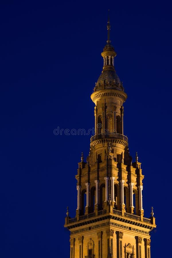 Plaza de Espana Turm Sonnenuntergang. Spain Andalucia Plaza de Espana tower sunset tower night stock image