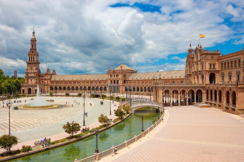 Plaza de Espanha Plaza de Espana, Sevilha, a Andaluzia, Espanha foto de stock royalty free