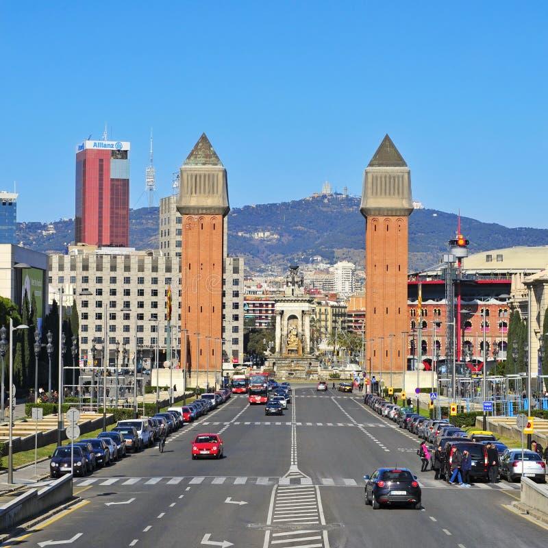 Plaza DE Espanya in Barcelona, Spanje royalty-vrije stock afbeeldingen
