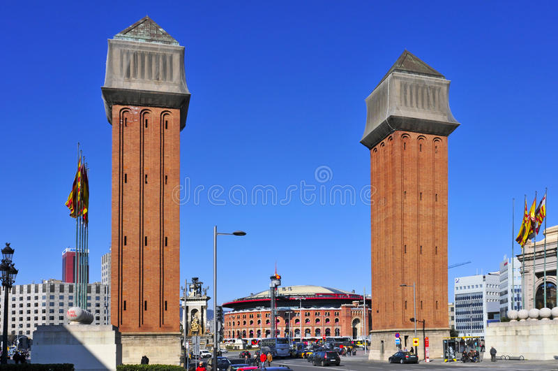 Plaza DE Espanya in Barcelona, Spanje stock afbeeldingen