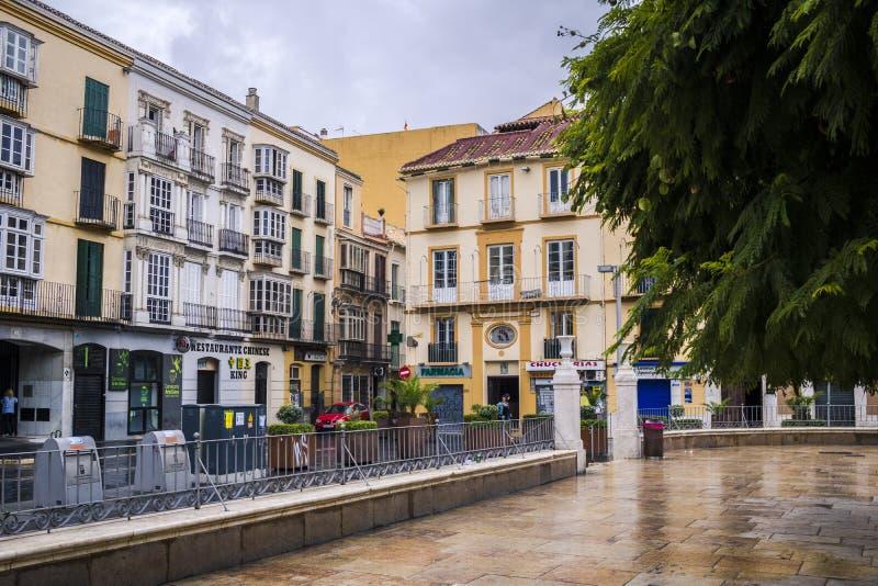 Plaza de la默塞德,马拉加,西班牙 免版税库存图片