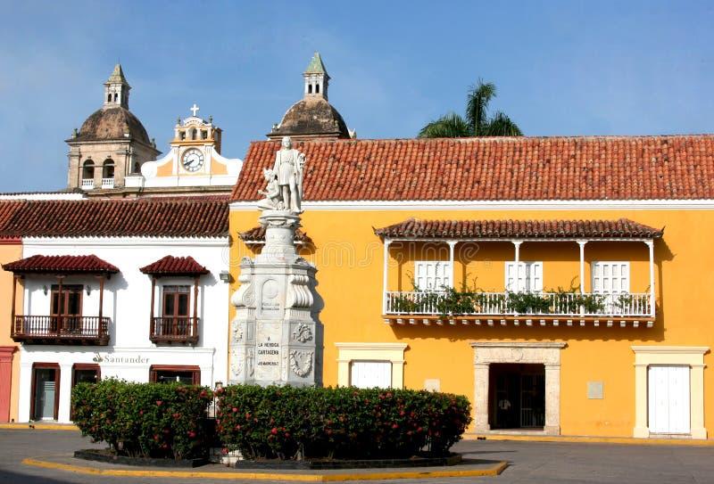 Plaza de la Aduana. Cartagena de Indias, Colombia royalty free stock images