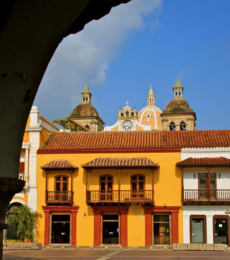 Plaza de la Aduana, Cartagena, Colombia stock photo
