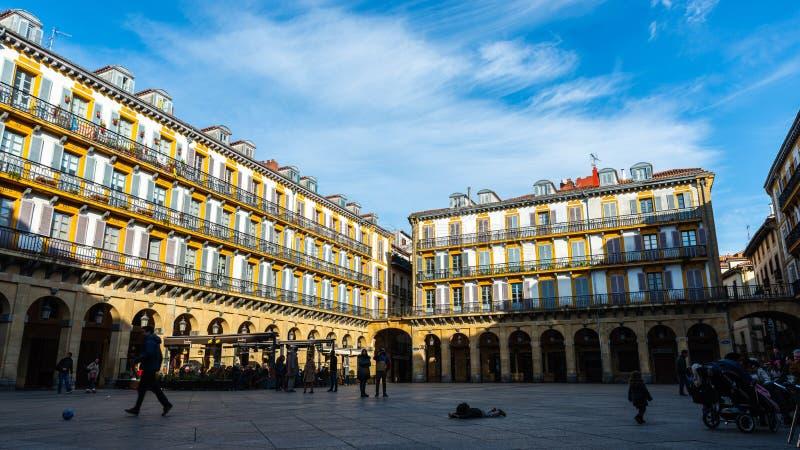 Plaza de la Constitución Platz in San Sebastian, Spanien stockbild