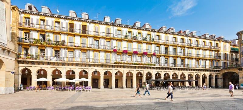 plaza de la Constitucion在San Sebastian,西班牙 免版税库存照片