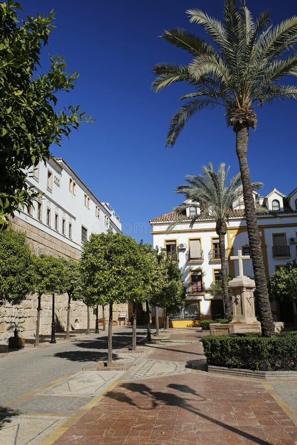 Plaza de la Iglesia em Marbella, a Andaluzia, Espanha fotografia de stock