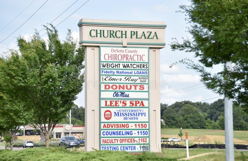 Plaza de la iglesia, lago horn, Mississippi foto de archivo