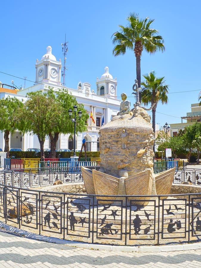 Plaza DE La Inmaculada Square Barbate, Cadiz, Spanje royalty-vrije stock afbeeldingen