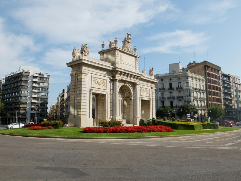 Plaza de la Puerta Del Mar Valencia, España imagen de archivo