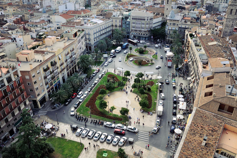 Plaza de la Reina鸟瞰图在巴伦西亚 库存照片