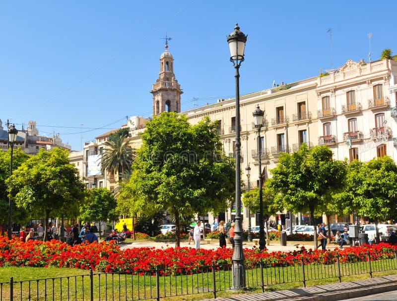 Plaza de la Reina em Valência, Espanha imagem de stock