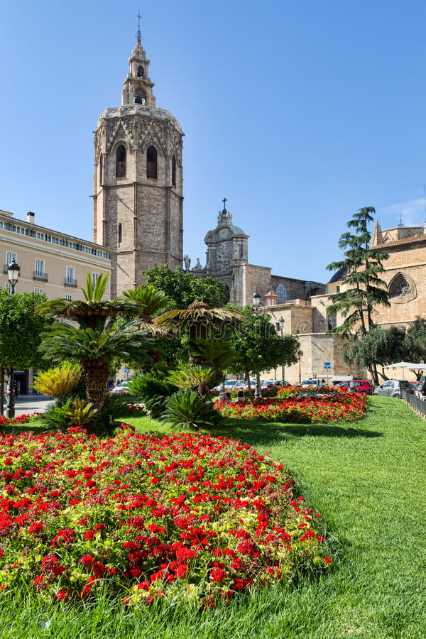 Plaza de la Reina and Micalet tower and Cathedral in Valencia, Spain. stock photography