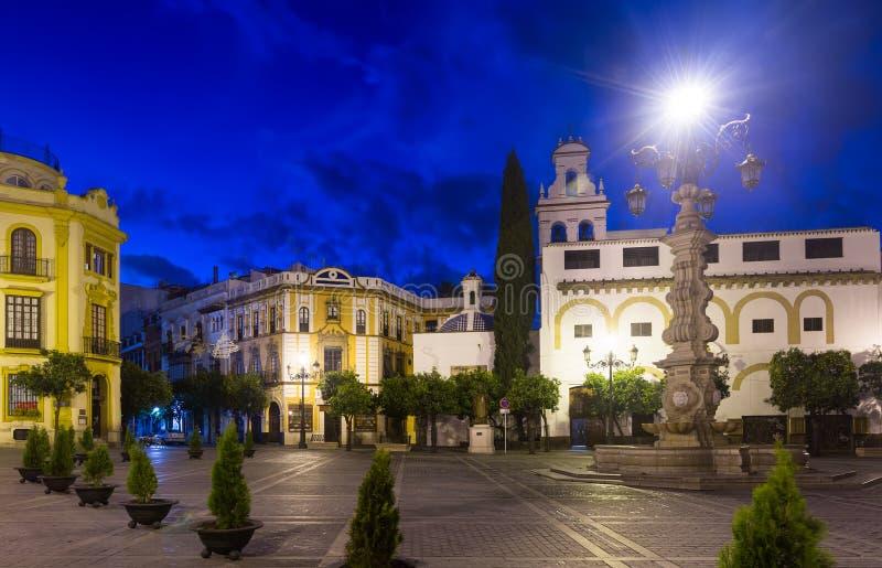 Plaza de la Virgen de los Reyes at Seville. Spain. Evening view of Plaza de la Virgen de los Reyes at Seville. Spain stock images