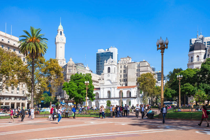 The Plaza de Mayo. BUENOS AIRES, ARGENTINA - APRIL 14, 2016: The Plaza de Mayo is the oldest national monument in Buenos Aires, Argentina royalty free stock images