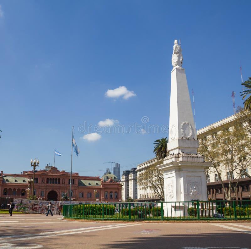 The Plaza de Mayo, Buenos Aires. BUENOS AIRES, ARGENTINA - SEPTEMBER 12:The Plaza de Mayo English: May Square is the main square in Buenos Aires. In background royalty free stock image