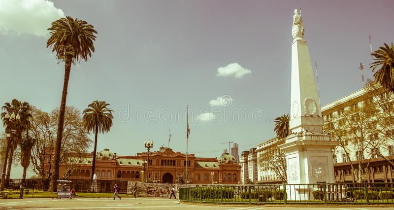 The Plaza de Mayo, Buenos Aires. BUENOS AIRES, ARGENTINA - SEPTEMBER 12:The Plaza de Mayo English: May Square is the main square in Buenos Aires. In background royalty free stock images