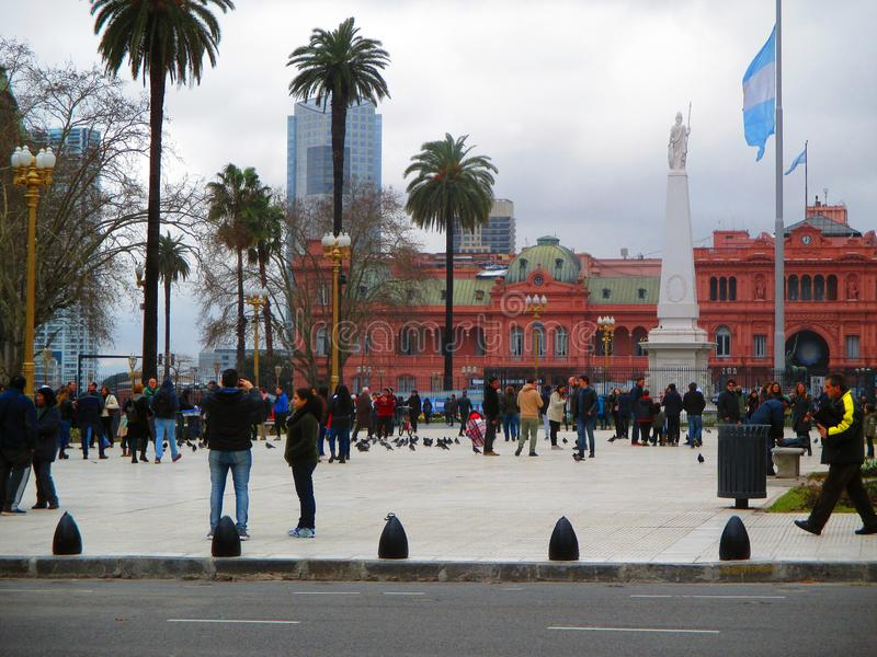 Plaza de Mayo in Buenos Aires. People in the , Capital of Argentina royalty free stock image