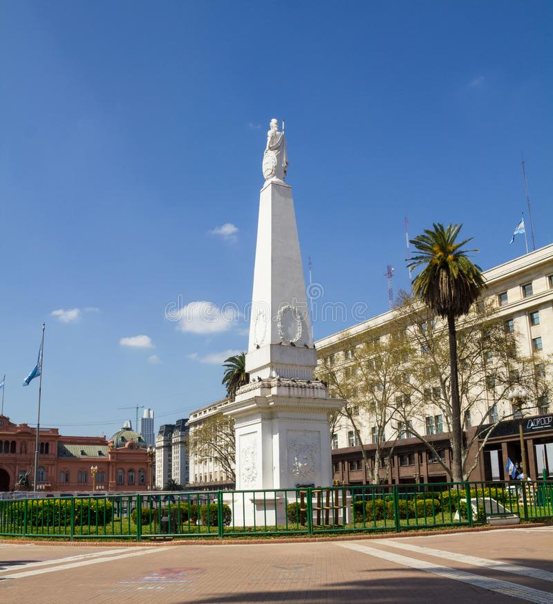 The Plaza de Mayo, Buenos Aires. The Plaza de Mayo English: May Square is the main square in Buenos Aires. In background, the Casa Rosada Pink House. The May royalty free stock photos