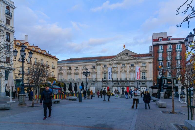 Plaza de Santa Ana, en Madrid foto de archivo
