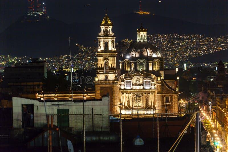 Plaza de Santa Domingo Churches Zocalo Mexico City Mexico. Plaza de Santa Domingo Churches Lights Zocalo Center of Mexico City Christmas Night Mexico royalty free stock photography
