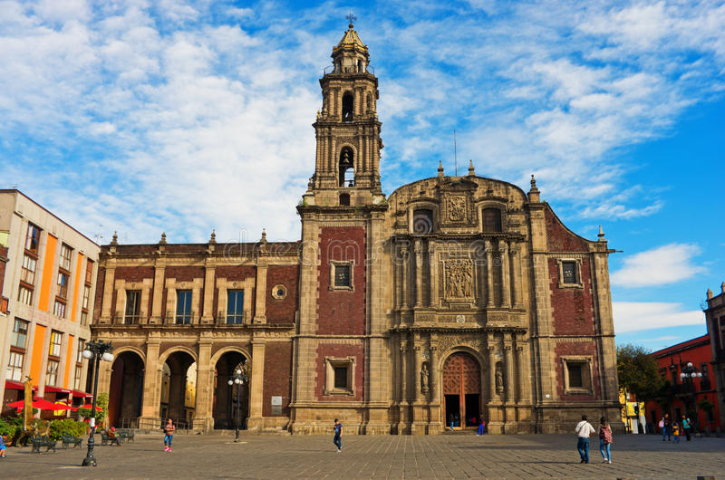 Plaza de Santo Domingo in Mexico city stock images