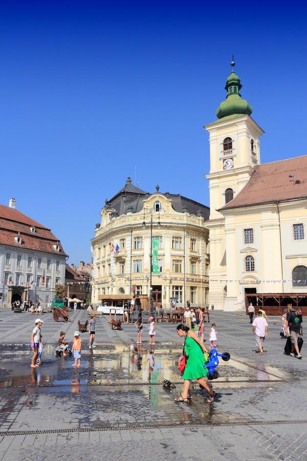 Plaza de Sibiu fotografía de archivo libre de regalías