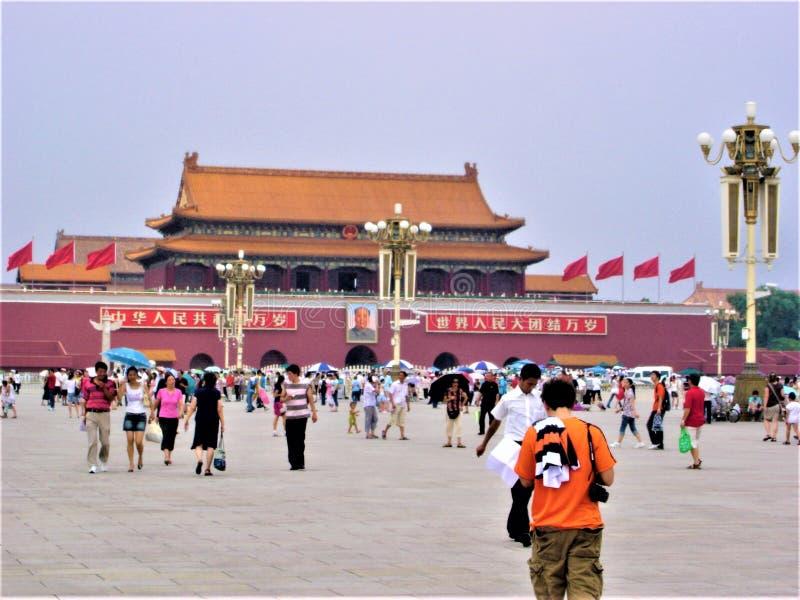 Plaza de Tiananmen en Pek?n, China La ciudad Prohibida, turismo y señal imágenes de archivo libres de regalías
