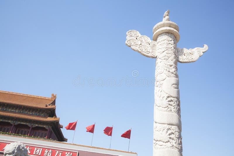 Plaza de Tiananmen, puerta de la paz divina con el pilar ornamental, Pekín, China. fotos de archivo libres de regalías