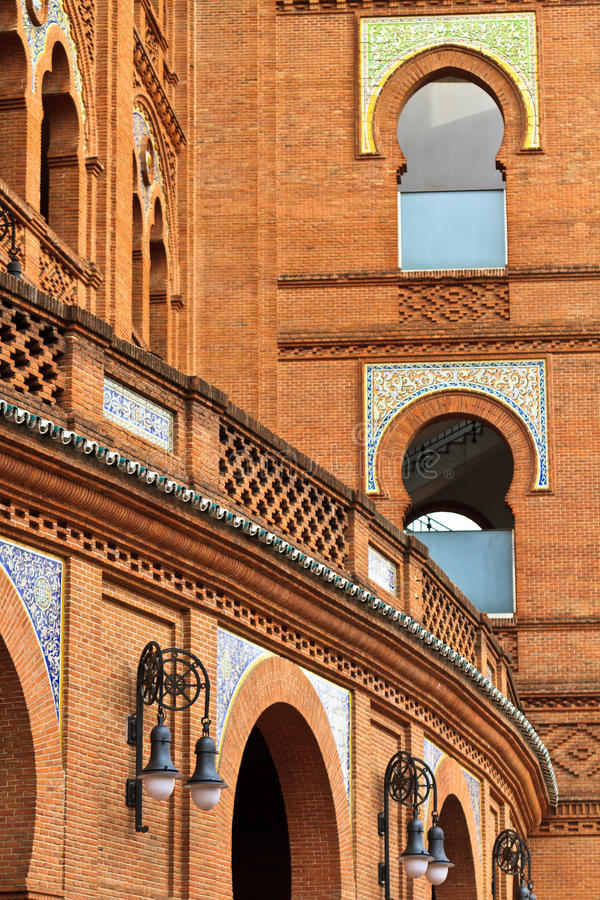 Plaza de Toros de Las Ventas. Architecture Details of Arena Plaza de Toros de Las Ventas, Madrid, Spain stock photo