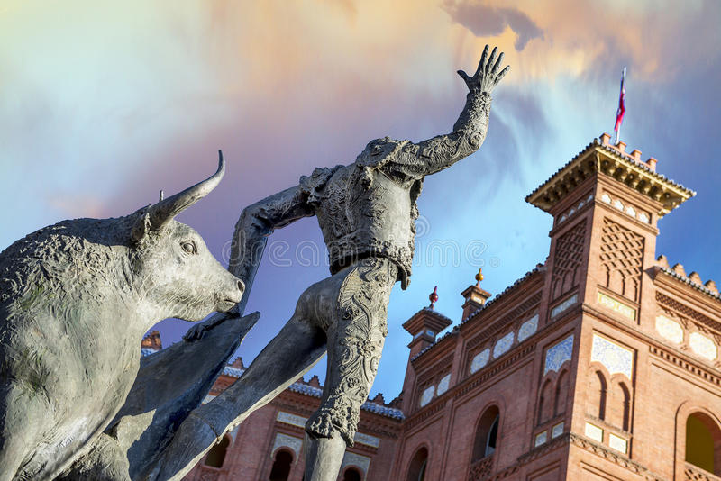 Plaza de Toros de Las Ventas in Madrid. Madrid Landmark. Bullfighter sculpture in front of Bullfighting arena Plaza de Toros de Las Ventas in Madrid, a touristic stock photo