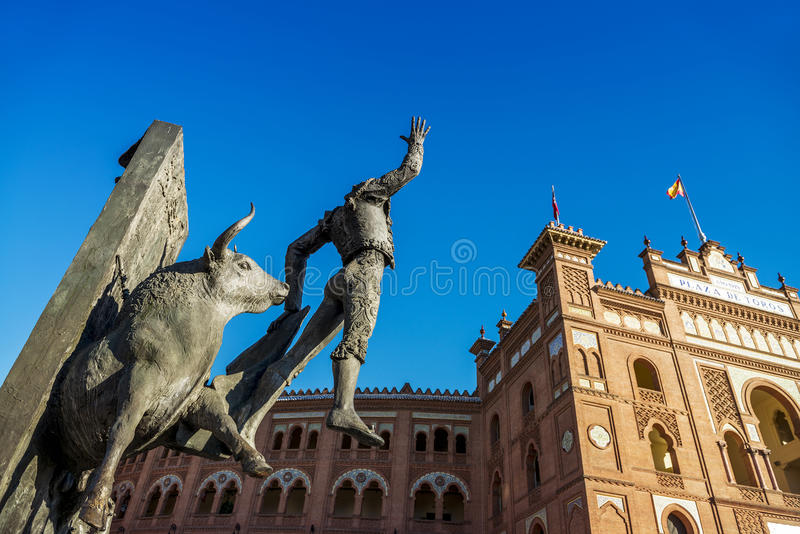 Plaza de Toros de Las Ventas in Madrid. Madrid Landmark. Bullfighter sculpture in front of Bullfighting arena Plaza de Toros de Las Ventas in Madrid, a touristic royalty free stock images