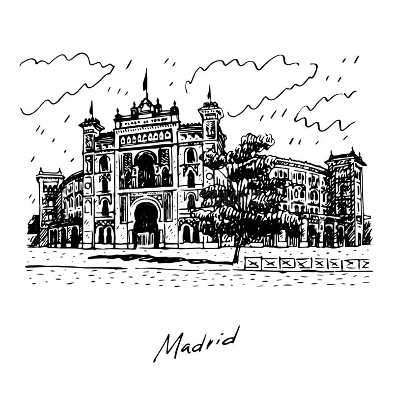 Madrid, Spain. Plaza de Toros de Las Ventas. Vector illustration. Plaza de Toros de Las Ventas, Madrid, Spain. Drawn pencil sketch. Vector editable file stock illustration
