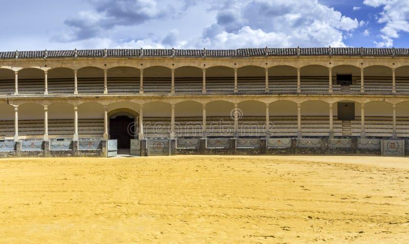 Plaza de toros de Ronda, the oldest bullfighting ring in Spain. The Plaza de toros de Ronda, the oldest bullfighting ring in Spain. Built in 1784 in Neoclassical royalty free stock photo