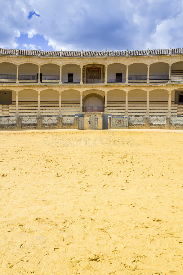 Plaza de toros de Ronda, the oldest bullfighting ring in Spain. The Plaza de toros de Ronda, the oldest bullfighting ring in Spain. Built in 1784 in Neoclassical stock image