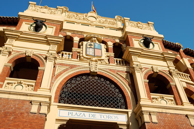 Plaza de Toros La Misericordia in Zaragoza. Detail of Plaza de toros (bullring) in Zaragoza, Spain. This stadium was built in 1764 and it's one of the oldest stock images