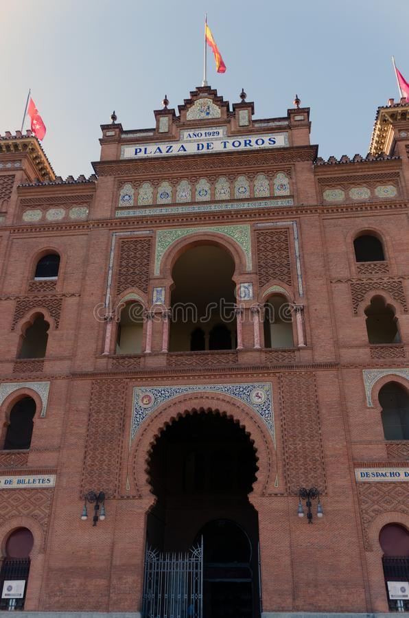 Plaza de toros de las ventas. Facade of the famous Plaza de toros de las Ventas in Madrid. Spain royalty free stock photos