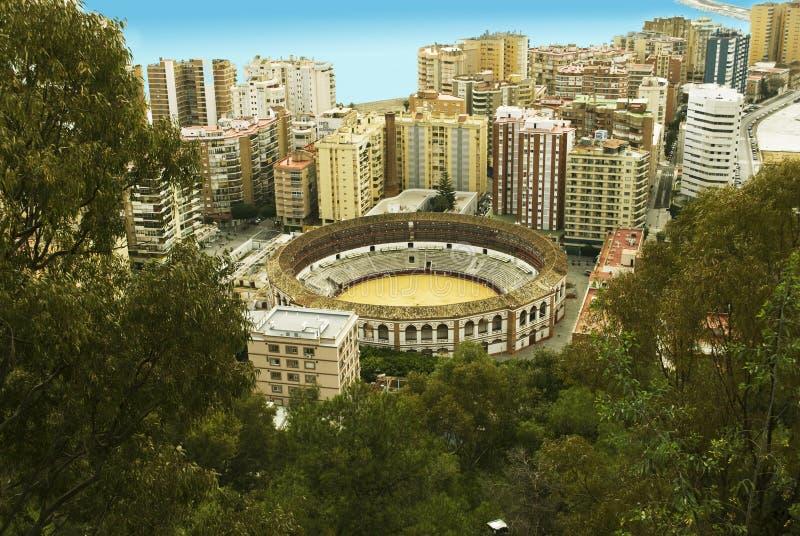 Plaza de Toros, Malaga. The Plaza de Toros (bullring) in Malaga, Spain. Aerial view stock image