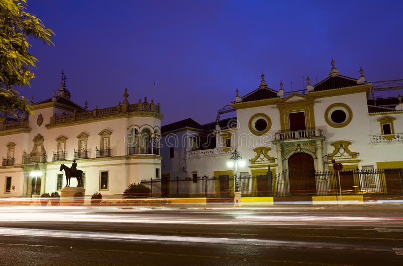Plaza de Toros in Sevilla. Spain at night with long exposure stock images