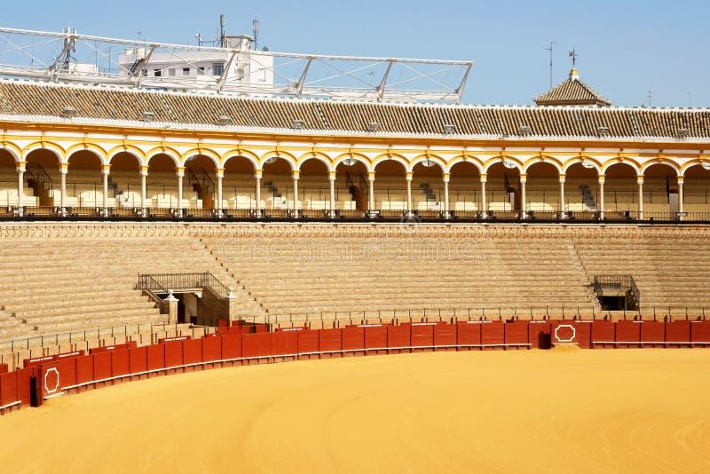 Plaza de Toros in Seville. Plaza de toros de la Real Maestranza de Caballeria de Sevilla or simply Plaza de Toros of Seville is the oldest bullring in Spain. It stock images