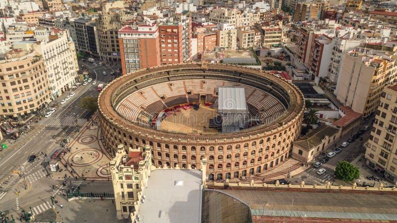 Plaza de toros de Valencia, visión aérea fotos de archivo